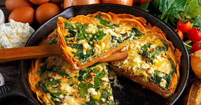 Spinach And Feta Quiche With Sweet Potato Crust Spinach And Feta Quiche Recipes Sweet Potato Frittata