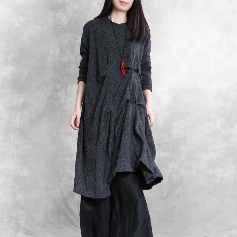 Women asymmetric wrinkled Cotton tunic dress Neckline dark gray Dress