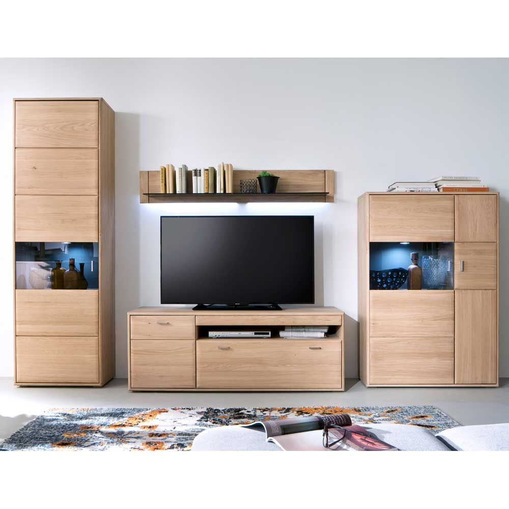 wohnkombination aus eiche bianco led beleuchtung 4 teilig wohnzimmerschrank schrankwand. Black Bedroom Furniture Sets. Home Design Ideas