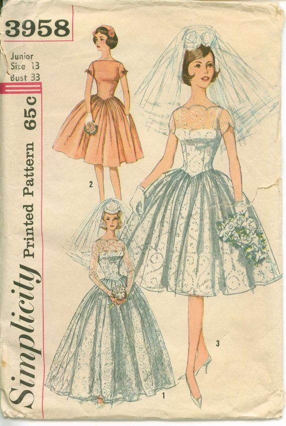 1960\'s Sewing Pattern - MAD MEN Bridal Gown with Sweetheart ...
