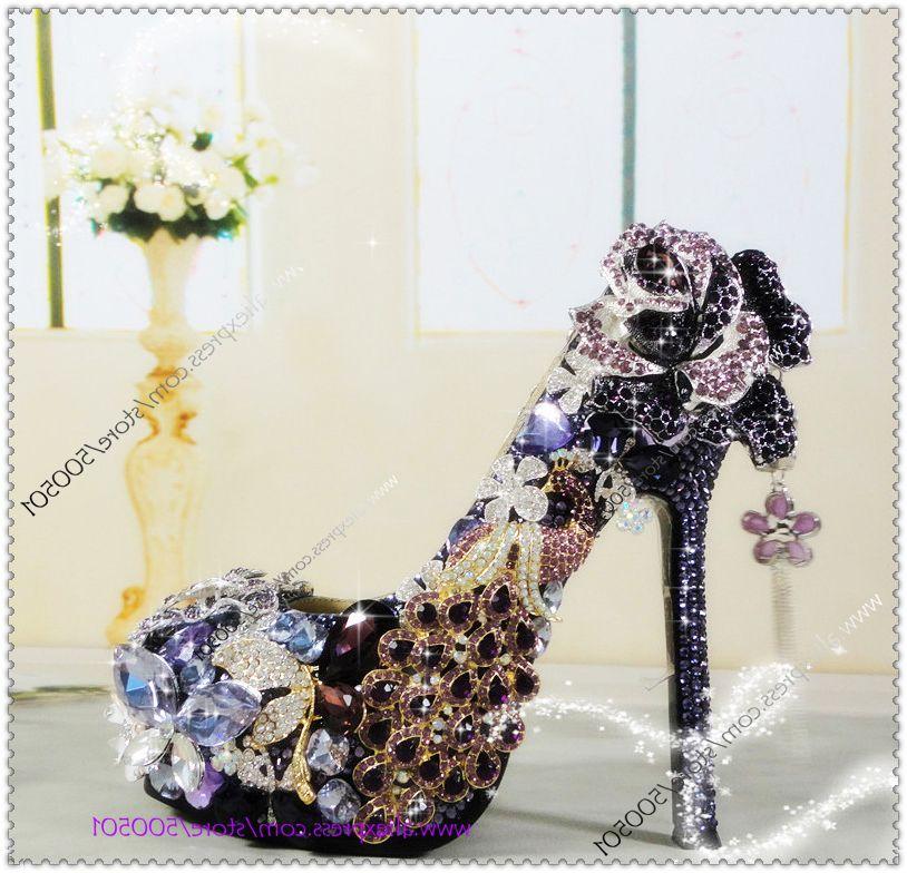 Luxury Purple And Gold Heels Handmade Grace Violet Wedding Shoes