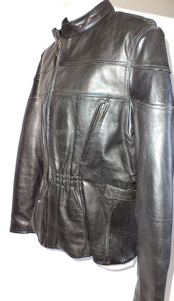 Hot Black Leather Gallery Motorcycle Jacket Zipoff Liner