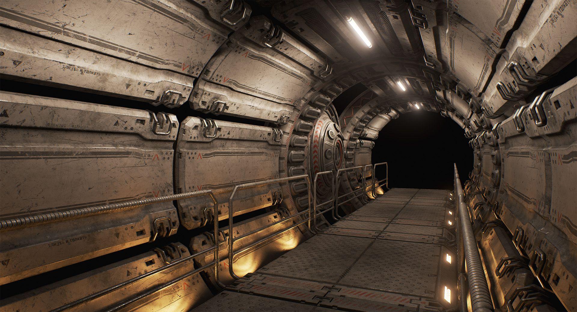 [UE4] Industrial Space Station Corridor