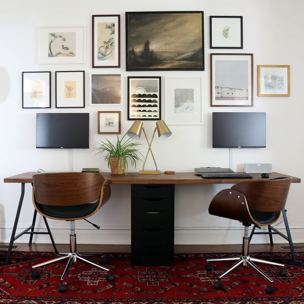 Two Person Desk And Gallery Wall Project Palermo In 2020 Ikea