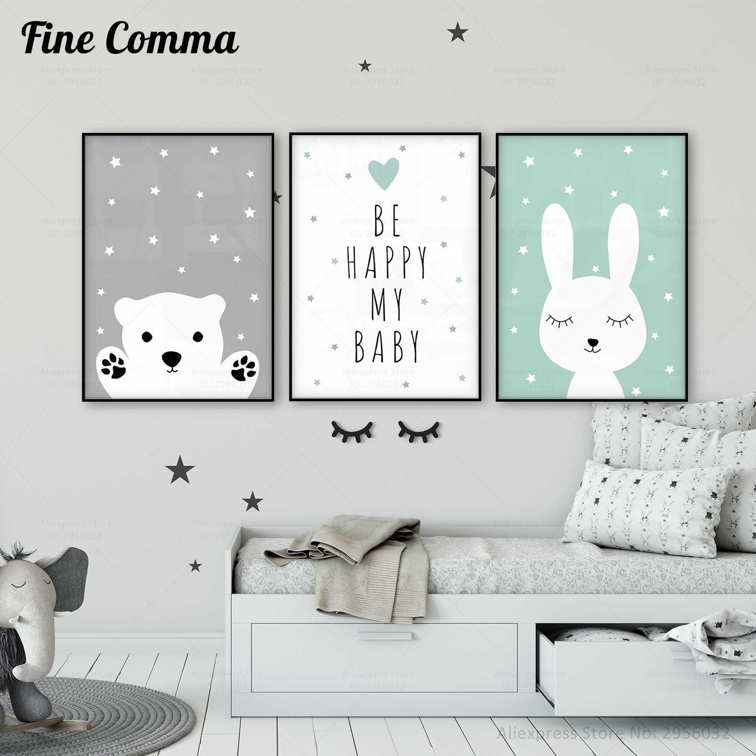 Baby Nursery Wall Art Canvas Poster Print Nordic Kids Decoration Picture Children Bedroom Decor Cartoon Rabbit Bear Painting Art Baby Nursery Wall Art Kids Room Poster Kids Room Paint