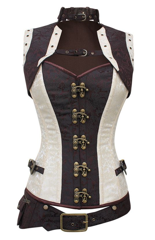Steam punk clothing sky pirate corset brown and cream clothes - Ropa interior medieval ...