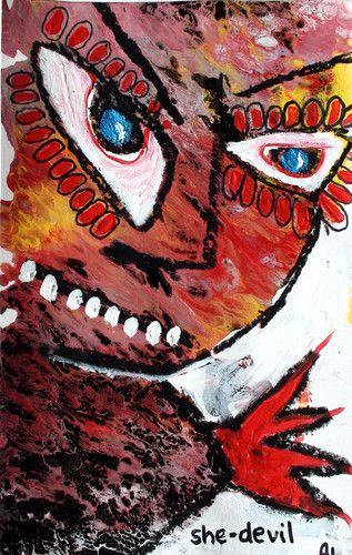 Original LABEDZKI Abstract Painting Outsider Art She Devil 5x8 inch on Paper | eBay