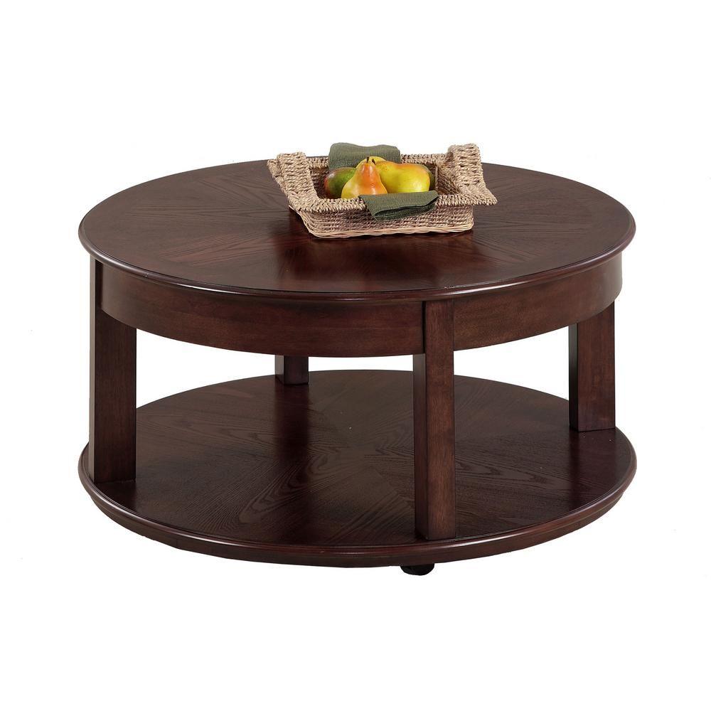 Progressive Furniture Sebring 38 In Medium Ash Medium Round Wood Coffee Table With Casters P543 48 The Home Depot Coffee Table With Casters Round Wood Coffee Table Round Cocktail Tables [ 1000 x 1000 Pixel ]