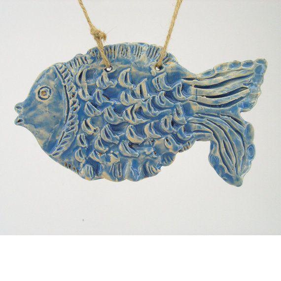 Fish Ceramic Tile Decor Blue Ceramics And Pottery Handmade Nautical