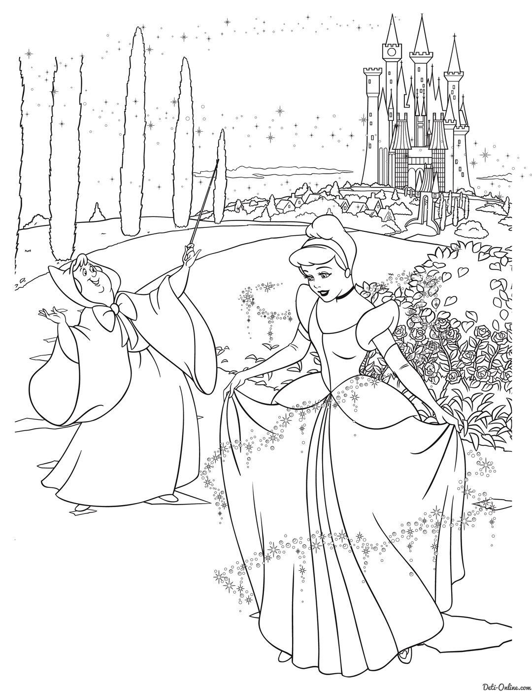 Раскраска Принцесса Диснея Золушка и фея | Раскраски ...
