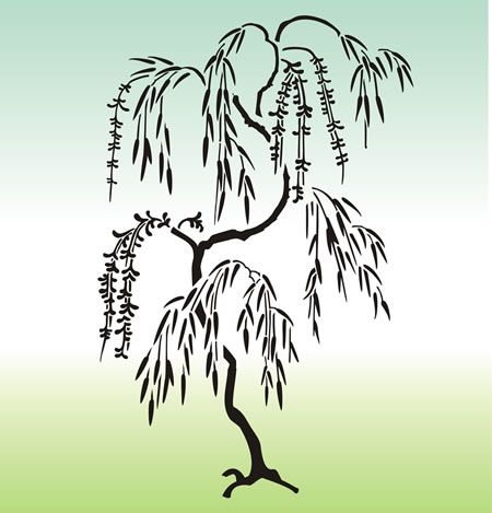Japanese Willow Tree Stencil