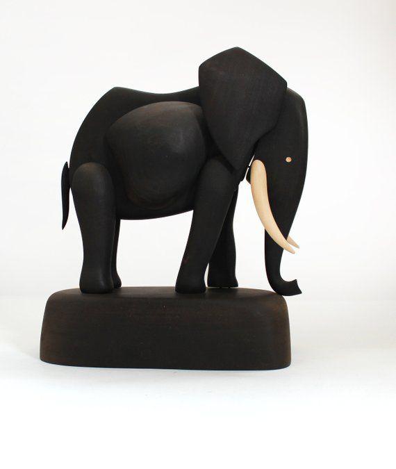 Large Wooden Elephant Sculpture Hand Carved Modern Sculpture Wood