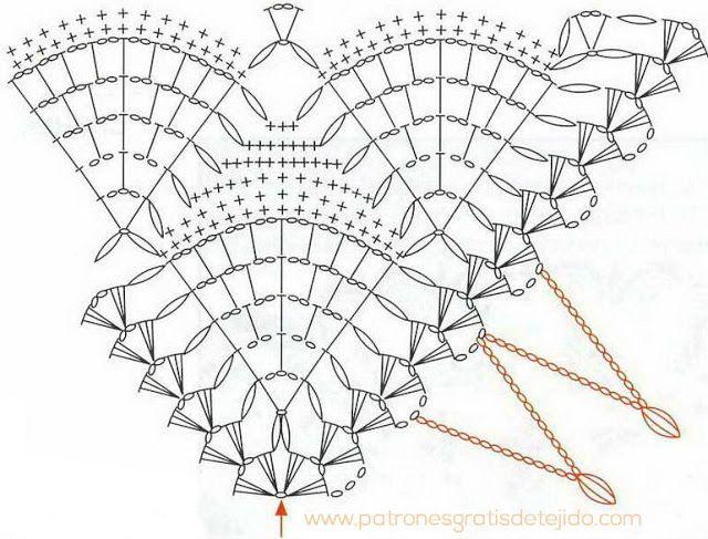 patron-chal.jpg (640×487) | CROCHET y Dos Agujas | Pinterest | Crochet