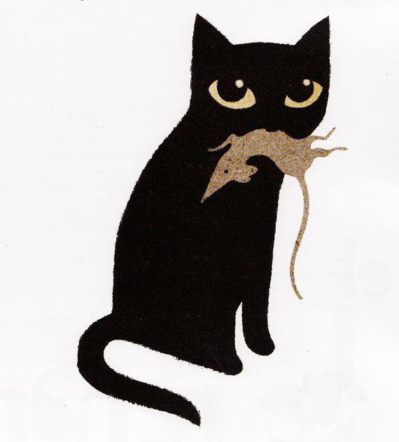 El Gato Y Su Ratón Black Cat Art Cats Illustration Cat Art