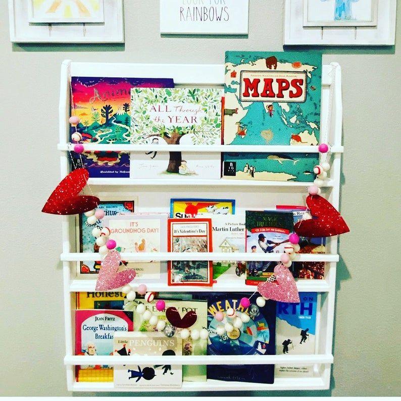 Wall Hanging Bookshelf For Children Books Magazine Rack Holder Etsy In 2020 Wall Hanging Bookshelf Hanging Bookshelves Wall Hanging