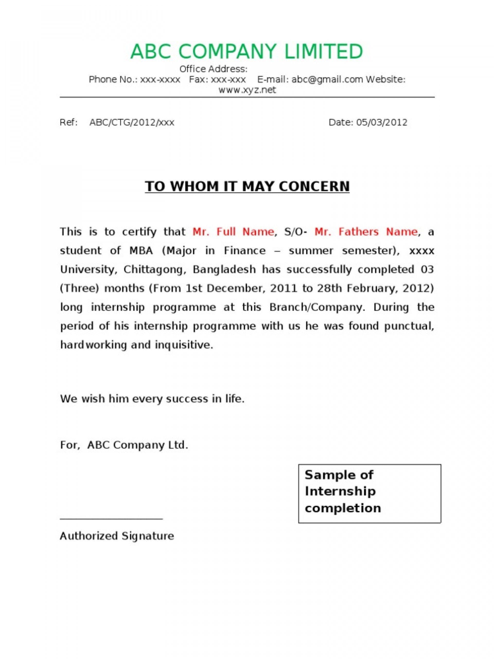 Valid Job Completion Certificate Letter Certificate Format Job