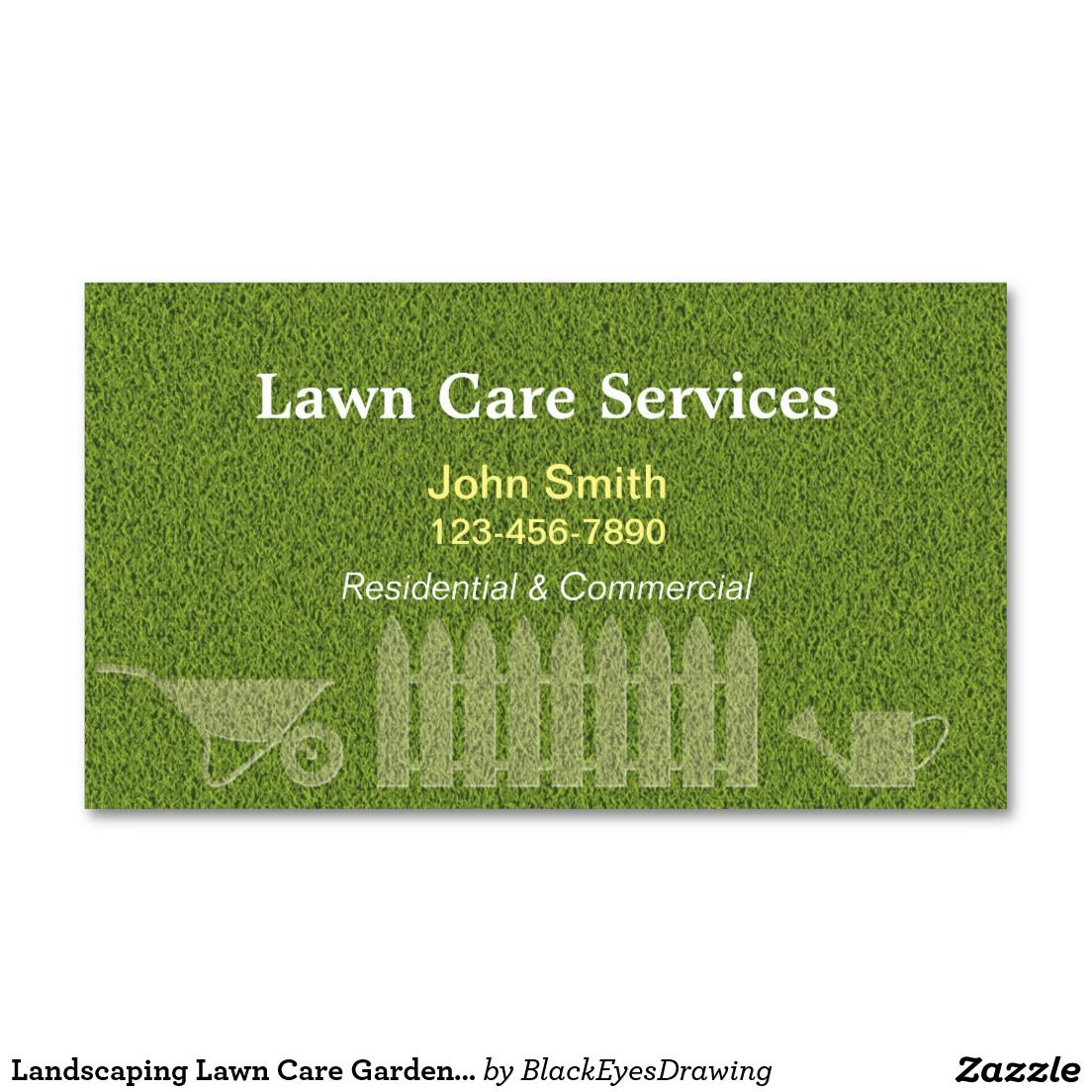 Landscaping Lawn Care Gardening Business Card | Business Cards ...