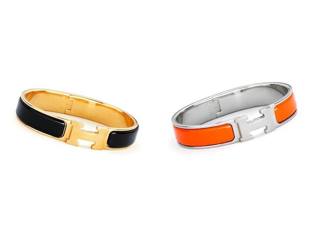 Hermes Black and Orange Clic H Bracelet