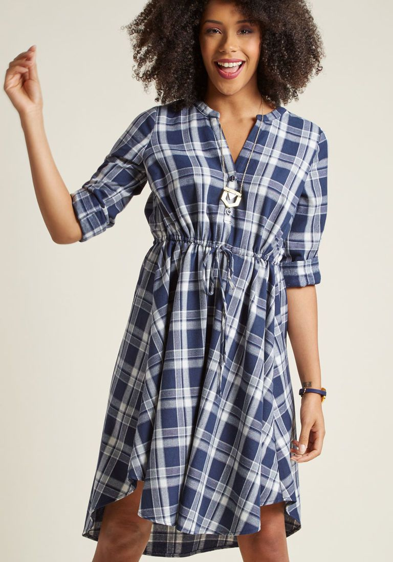 Flannel shirt dress with highlow hem products