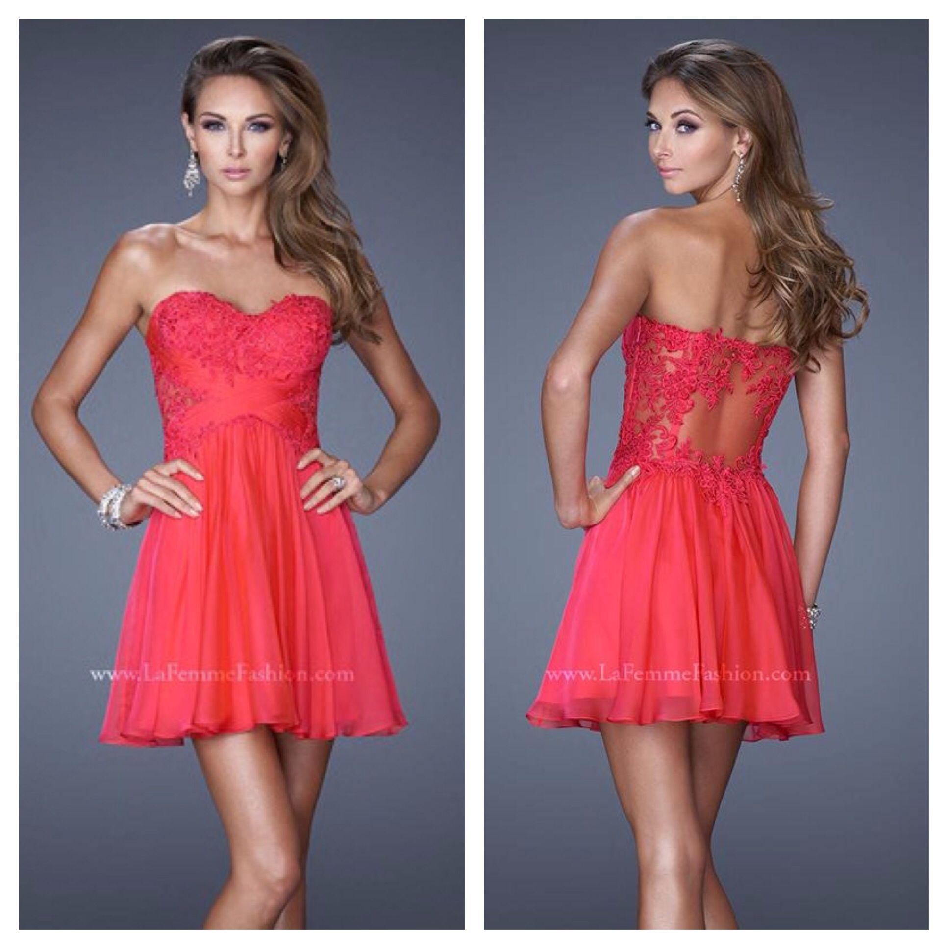 La Femme style 20632 ~ homecoming dress ~ sweetheart neckline ~ criss-cross  gathered bodice ~ sheer lace back panel ~ lace bodice ~ chiffon skirt ...
