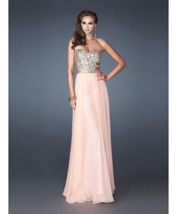 A-line Sweetheart Rhinestone Sleeveless Floor-length Chiffon Prom Dresses/Evening Dresses