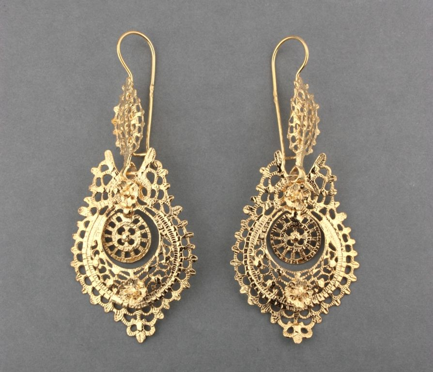 Filigree Jewelry Earrings Gold Jewellery Drop