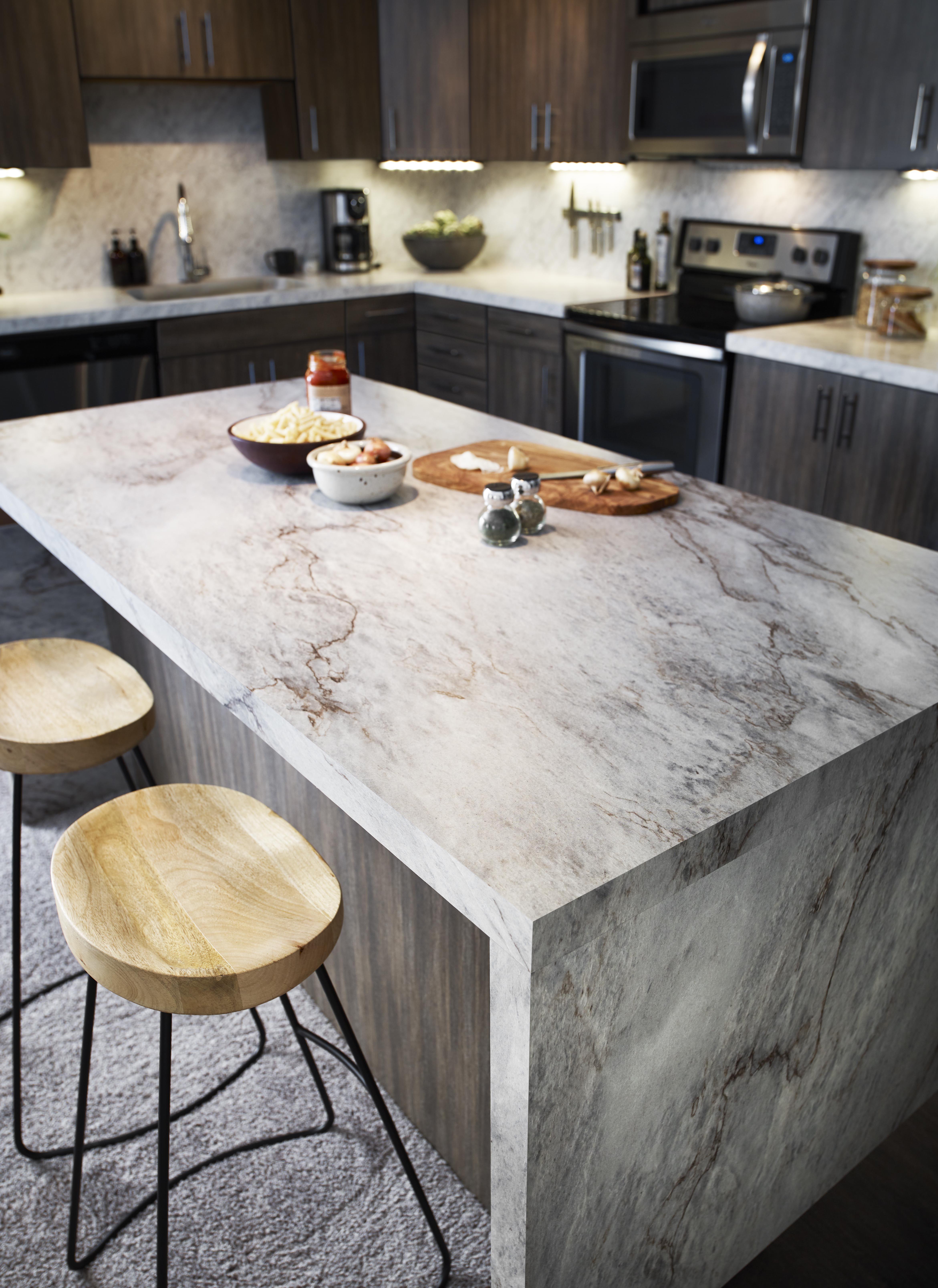 Formica Sea Pearl And Walnut Fiberwood Cheap Kitchen Remodel