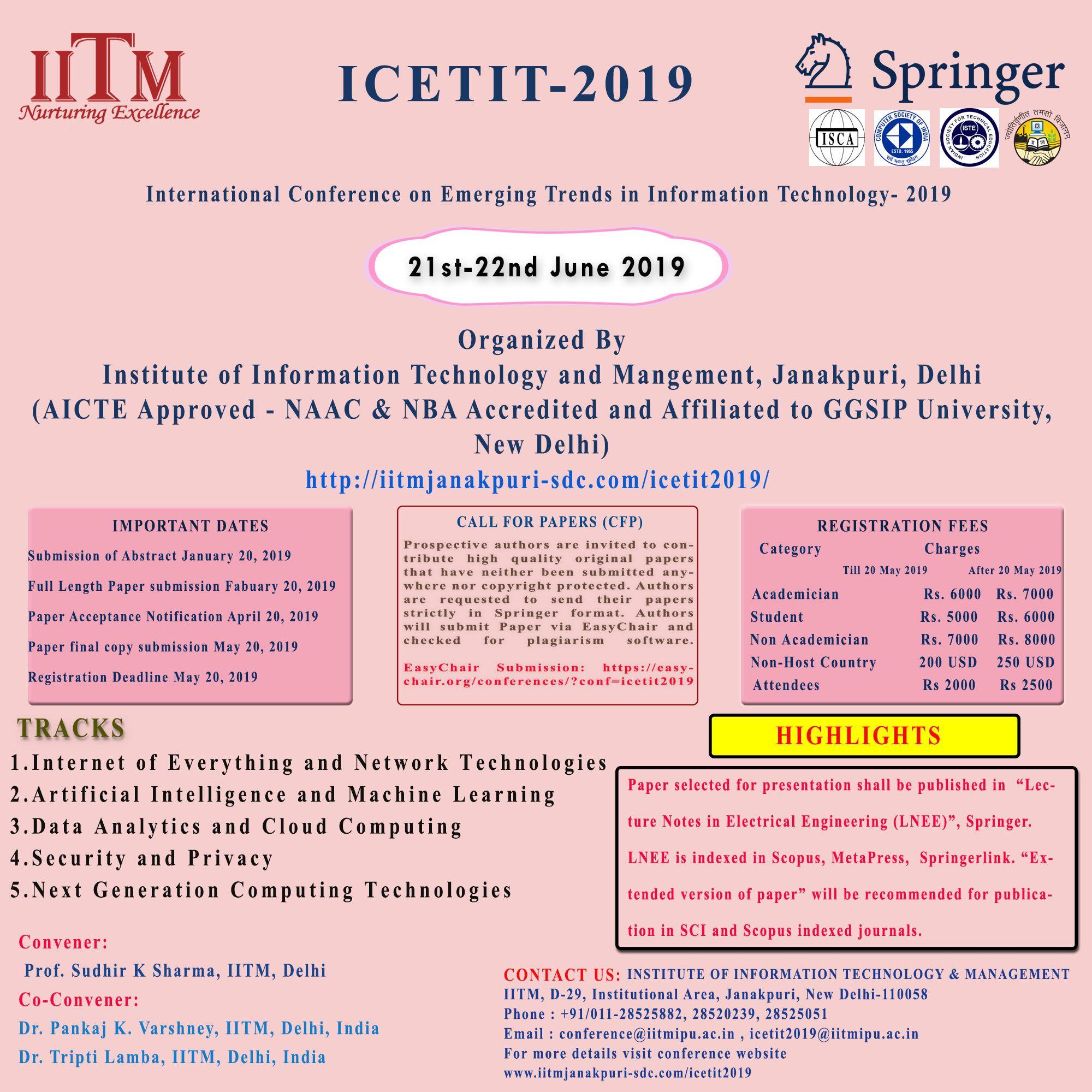 Pin by IITM Janakpuri on International Conference 2019