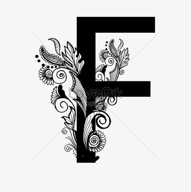 hitam dan putih huruf f kata seni mewah di 2020   Hitam ...