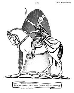 Saint Martin Of Tours Catholic Coloring Page For Kids To Color