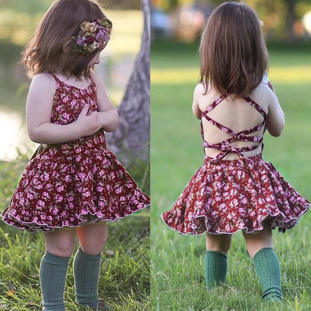 Toddler Kids Baby Girl Strap Floral Backless Princess Gown Party Long Dresses