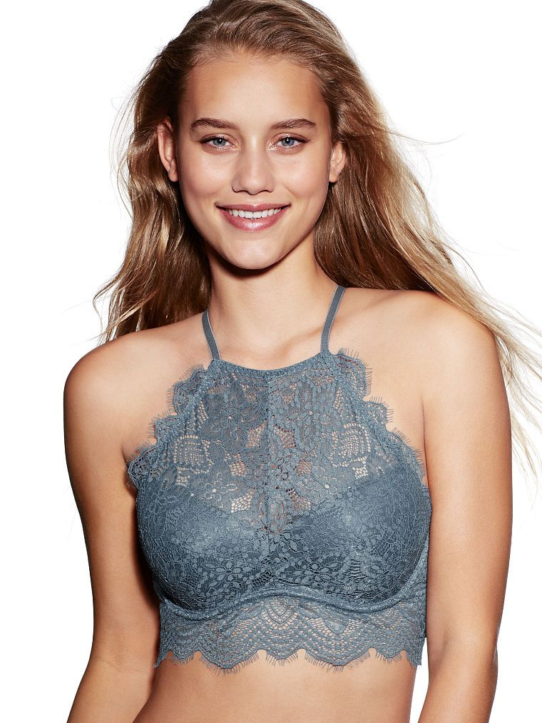Eyelash Lace High-Neck Bralette - PINK - Victoria s Secret. Under a  chambray for honeymoon  a447a4f13ddf