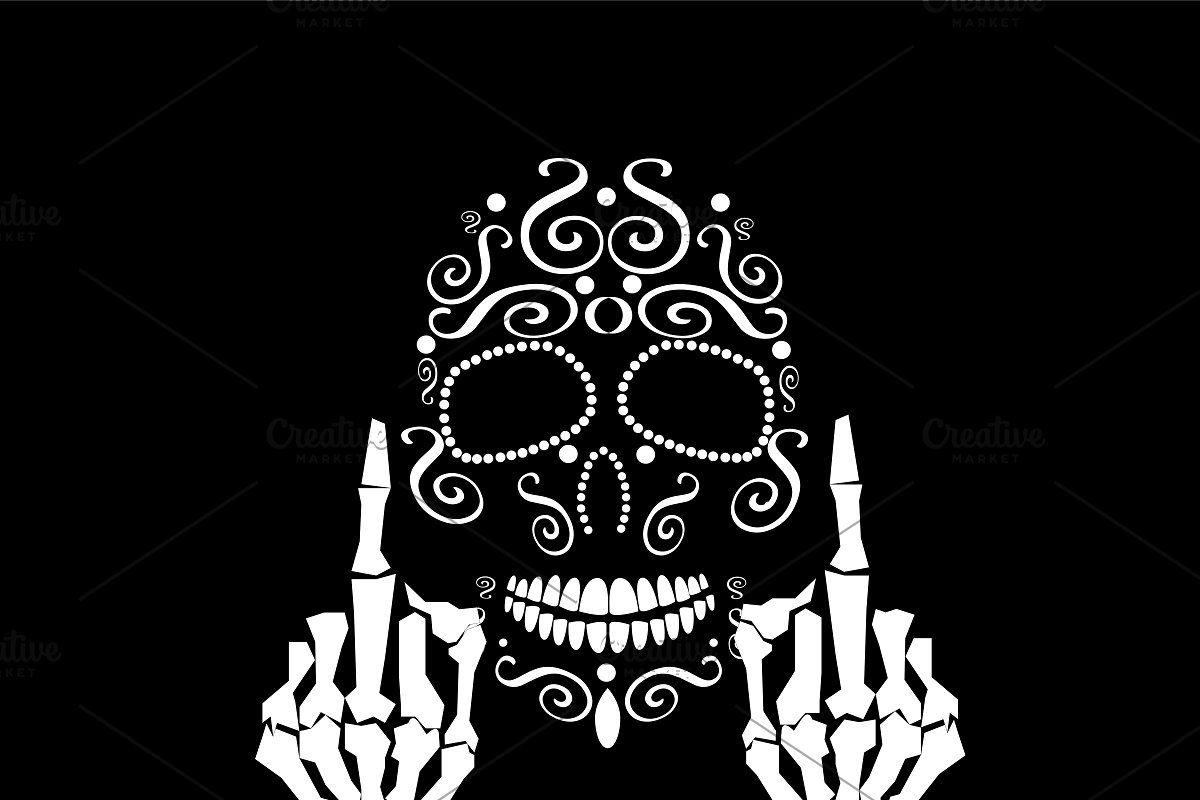 Skull vector with middle finger up, Sugar skull artwork