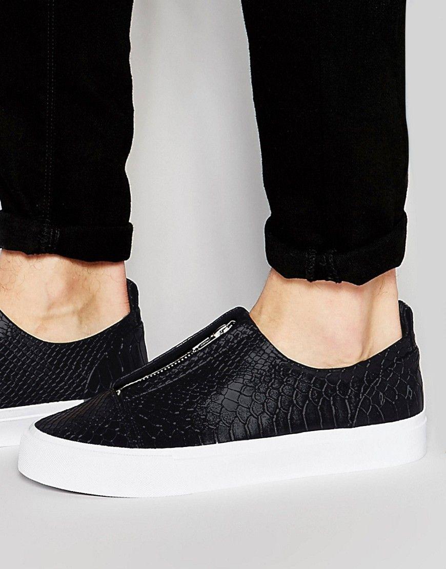 2b6107159 ASOS Slip On Sneakers in Black With Zips
