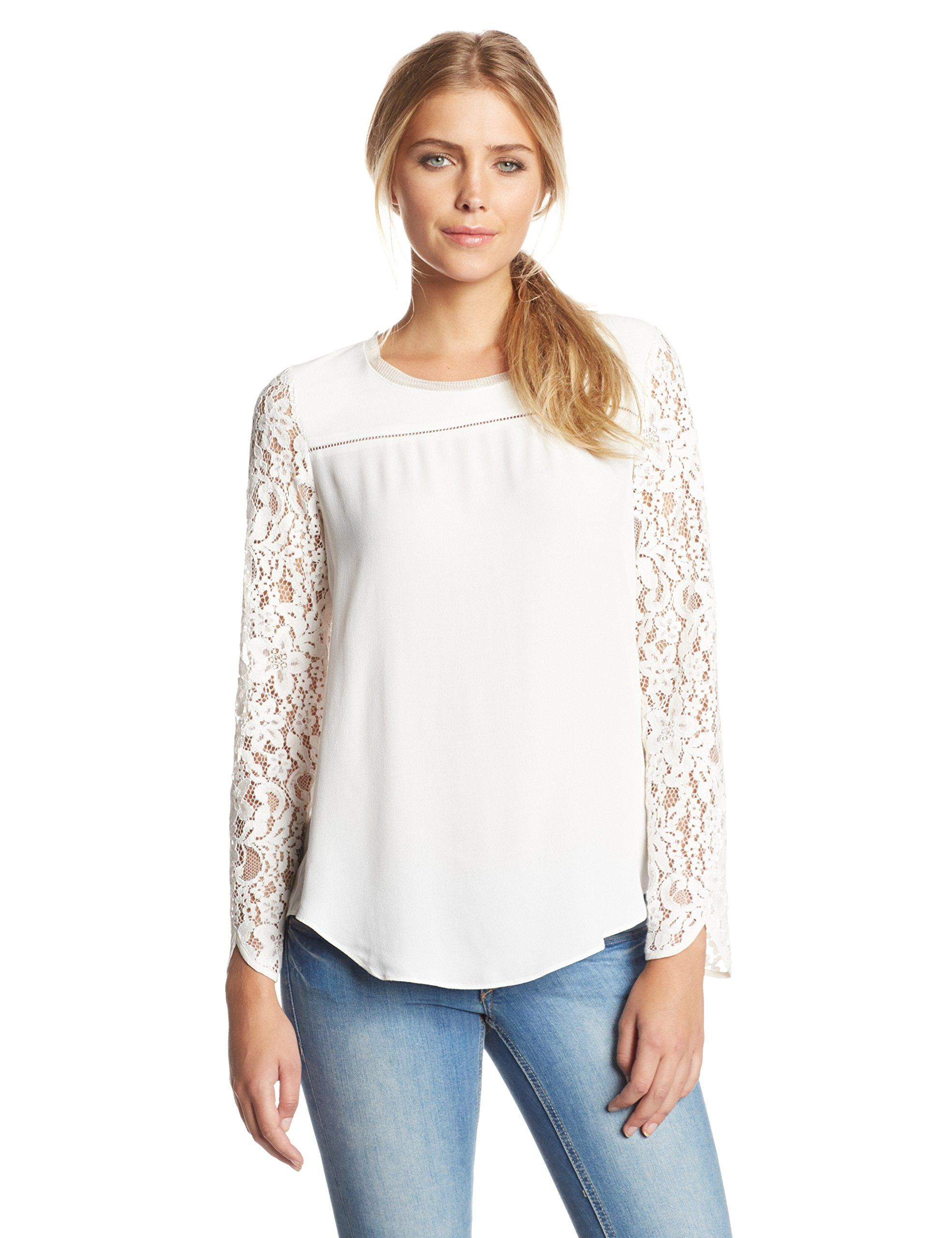 e2a76e940aaba8 Rebecca Taylor Women s Silk-and-Lace Long-Sleeve Blouse at Amazon Women s  Clothing store