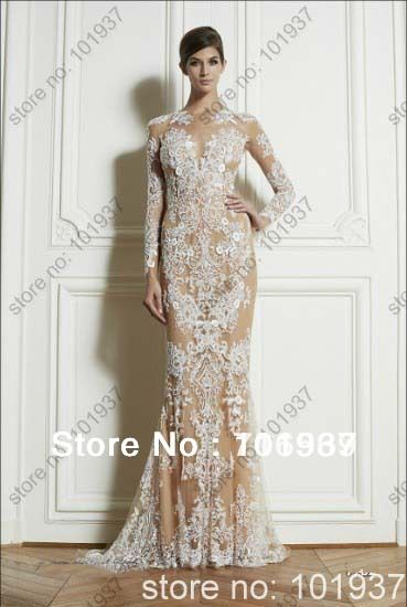 2013 New Arrival Long Sleeves Champagne Zuhair Murad Lace Tulle Sheath Prom Gowns Couture Evening Dresses $179.99