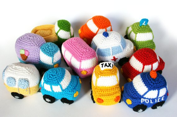 10 little cars PDF crochet pattern #haken
