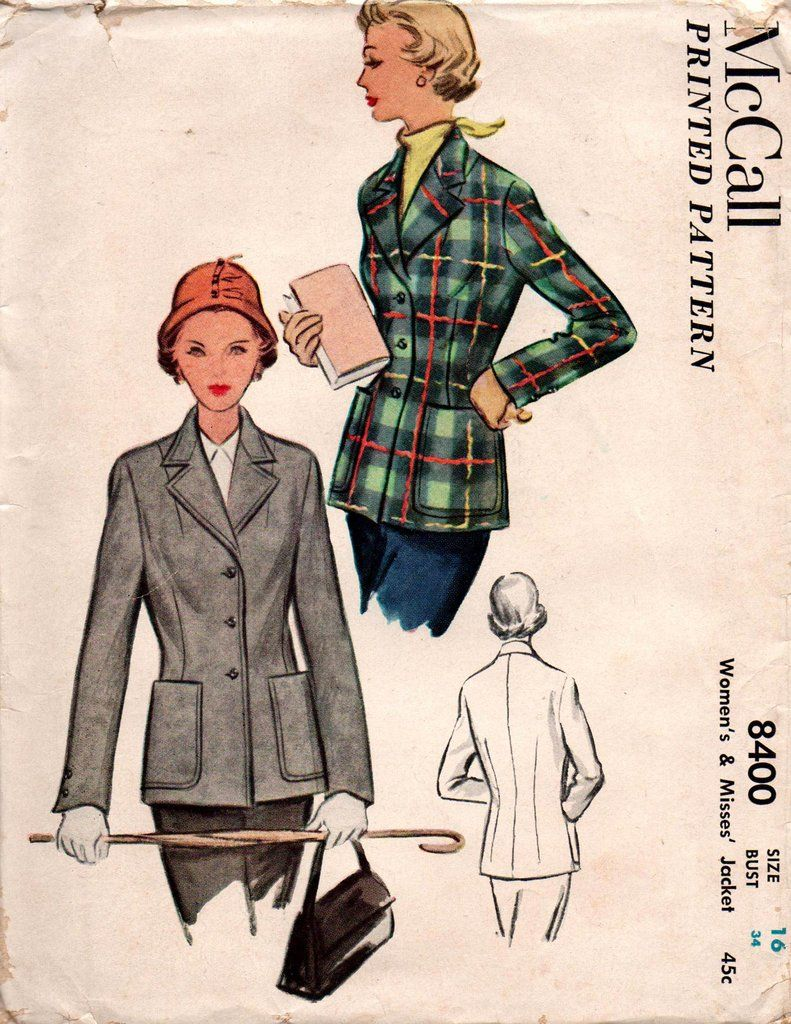 Mccall 8400 Womens Classic Tailored Jacket 1950s Vintage