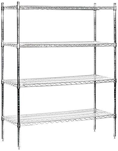 Salsbury Industries Stationary Wire Shelving Unit 48inch Wide By 63inch High By 18inch Deep Chrome Cli Wire Shelving Wire Shelving Units Salsbury Industries