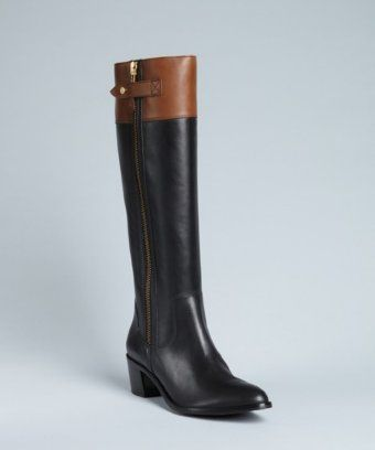 Diane Von Furstenberg black and brown leather 'Gwen' zippered boots | BLUEFLY up to 70% off designer brands at bluefly.com