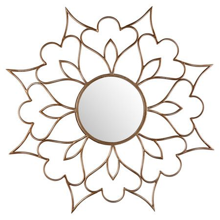 Sunburst-inspired wall mirror with an openwork floral frame.  Product: Wall mirrorConstruction Material: MDF and...