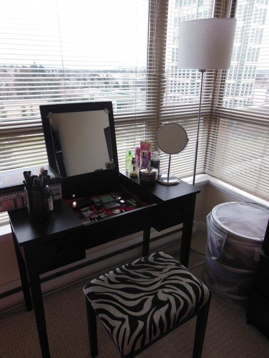 Charming black wood bedroom make up vanity dressing with flip up charming black wood bedroom make up vanity dressing with flip up mirror and stool and zebra geotapseo Gallery
