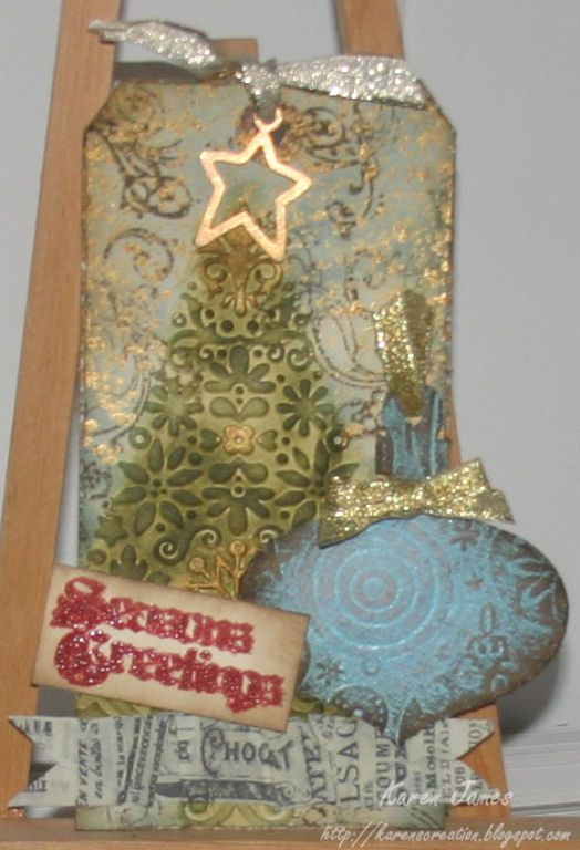 tim+holtz+christmas+tags | Tag # 6 - As I didn't have the same embossing folder or die that were ...
