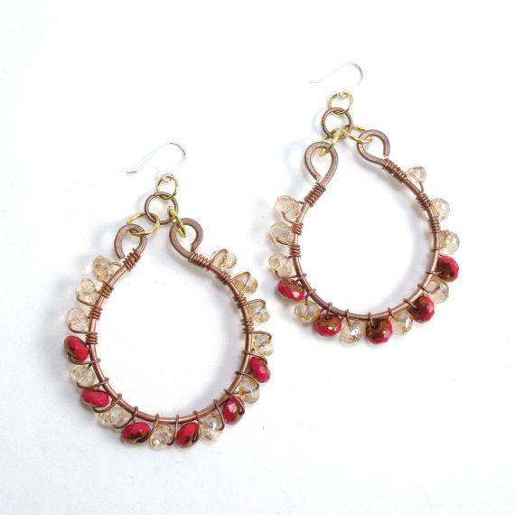 Copper Hoop Earrings with Blonde and by MermaidTearsSeaglass, $15.00