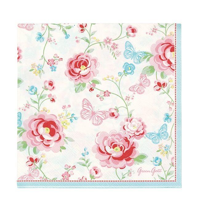 greengate paper napkin summer white 20 pieces new spring summer 2014 originated webshop. Black Bedroom Furniture Sets. Home Design Ideas
