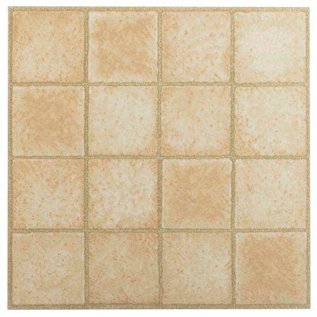 Achim Nexus Self Adhesive Vinyl Floor Tile 20 Tiles 20 Sq Ft 12 X 12 16 Square Sandstone Walmart Com Vinyl Flooring Flooring Tile Floor