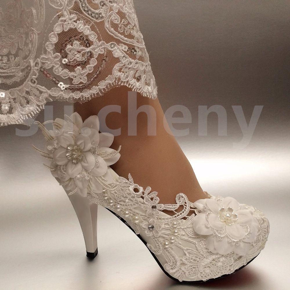 "d622cad0d2e7 2 3 4"" White ivory heels lace ribbon crystal pearl Wedding shoes bride size  5-12  PumpsClassicsplatformlowheel"
