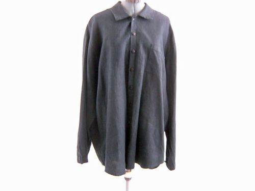 FLAX LINEN by Jeanne Engelhart Shirt Black L-XXL Bust 56 inches