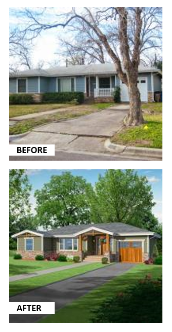 Ranch House Additions Before And After : ranch, house, additions, before, after, Relocated, Front, Proper, Entry, Porch, House, Approachable., Ranch, Exterior,, Remodel,, Exterior, Makeover