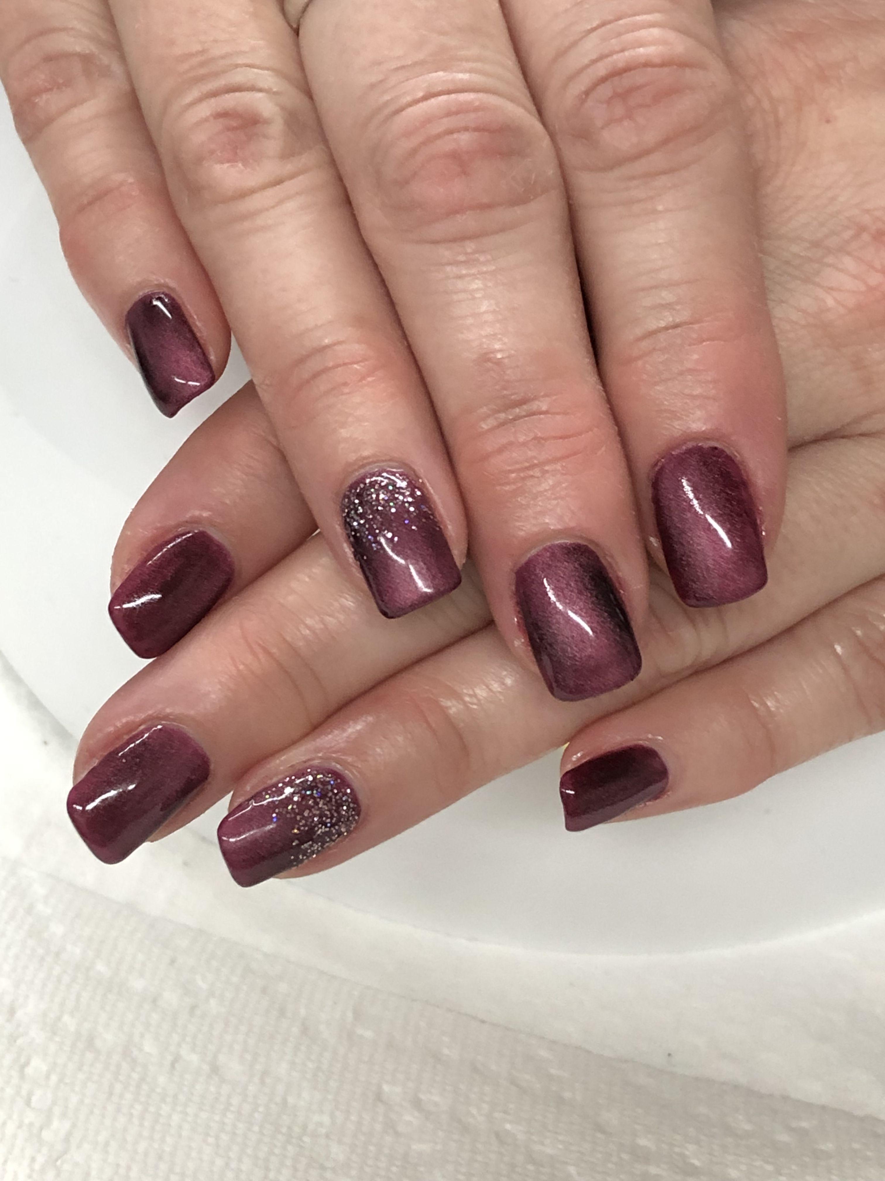Burgundy Magnetic Gel Nails Lightly Magnetized Gel Polish Nail Designs Gel Nail Designs Burgundy Nails